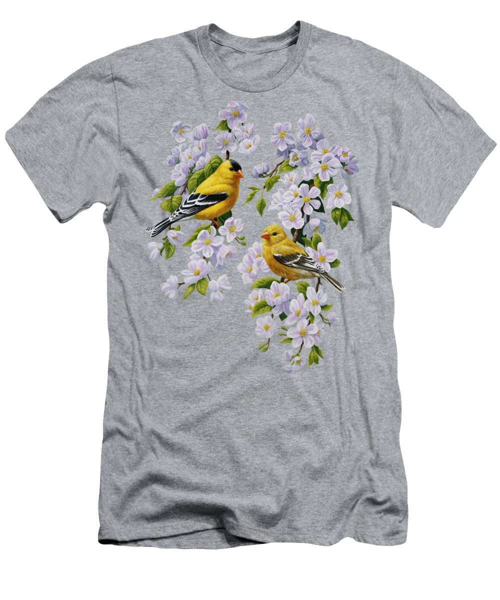 Bird Men's T-Shirt (Athletic Fit) featuring the painting American Goldfinches And Apple Blossoms by Crista Forest