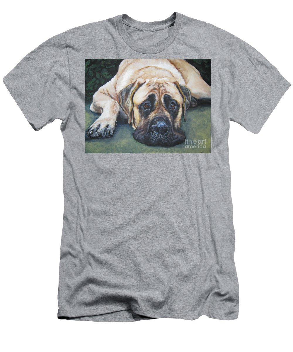 Dog Men's T-Shirt (Athletic Fit) featuring the painting American Mastiff by Lee Ann Shepard