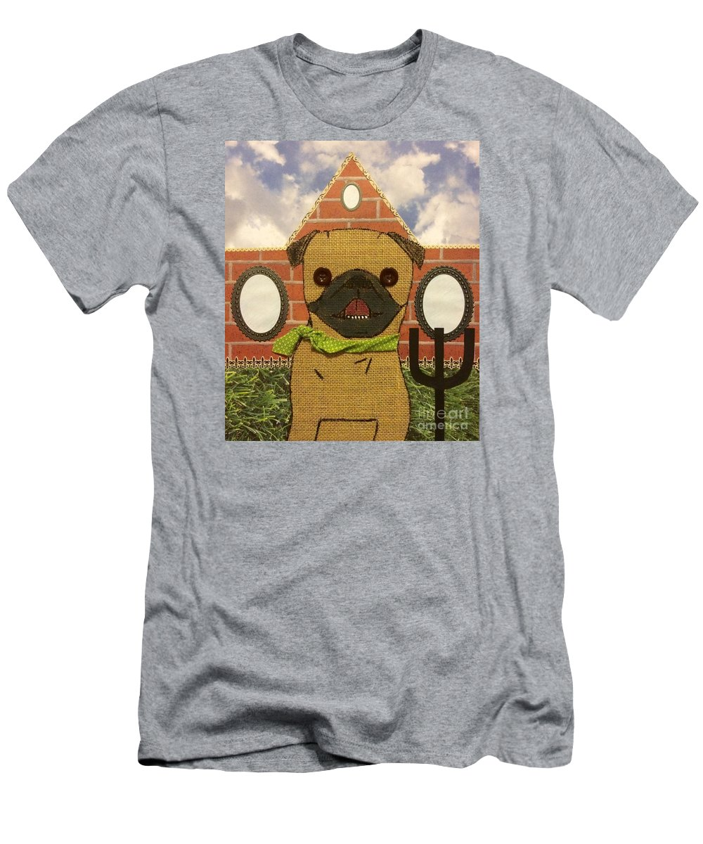 Men's T-Shirt (Athletic Fit) featuring the mixed media American Pug Gothic by Purely Pugs Design
