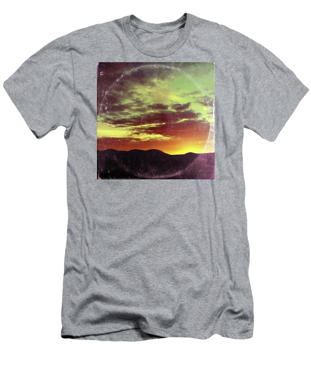 Landscape Men's T-Shirt (Athletic Fit) featuring the mixed media American Sunset As Vintage Album Art by Little Bunny Sunshine