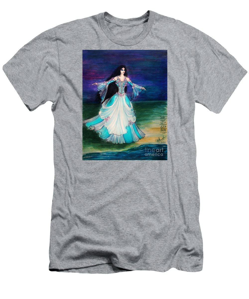 Ameynra Men's T-Shirt (Athletic Fit) featuring the painting Ameynra. Night Dance Before Wedding by Sofia Metal Queen
