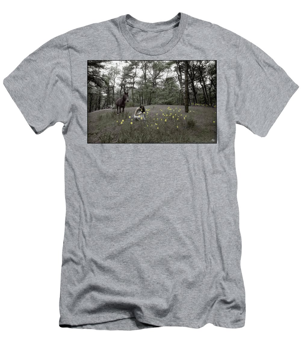 Handpainted. Photo Men's T-Shirt (Athletic Fit) featuring the photograph Among The Daffodils by Wayne King