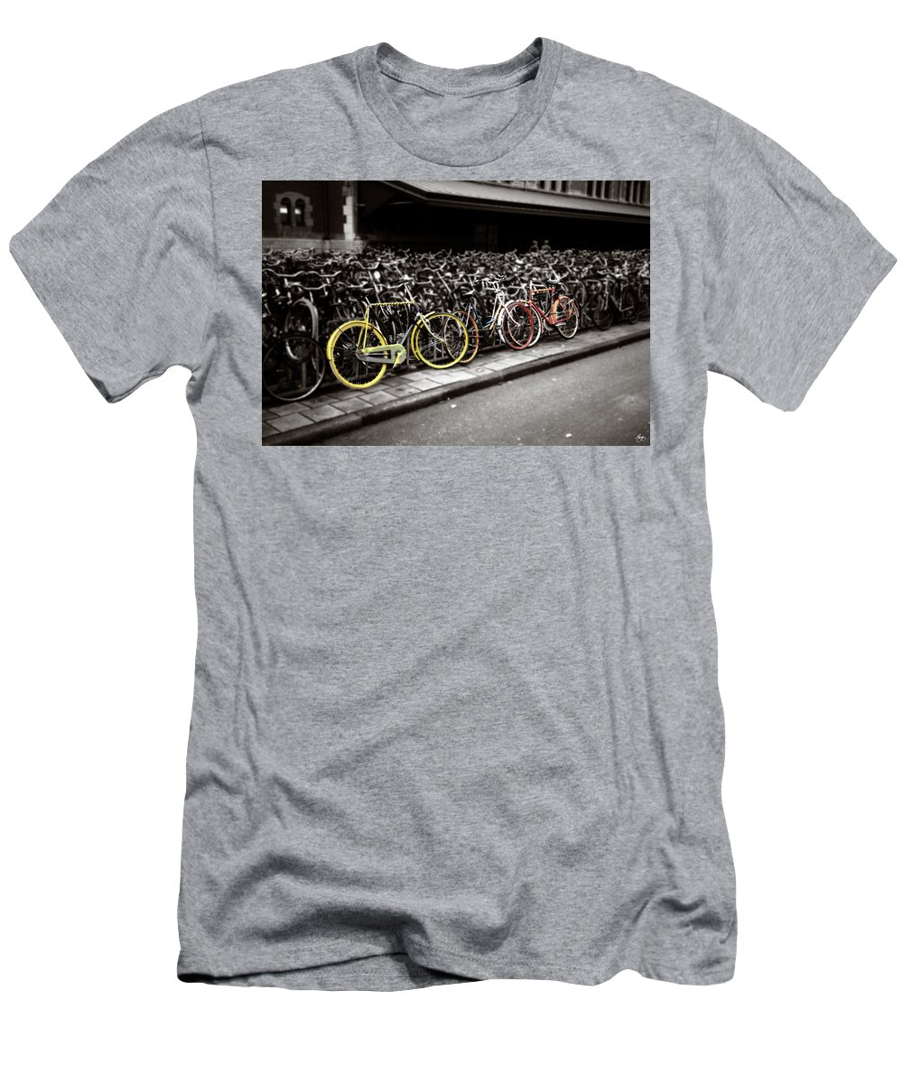Bike Men's T-Shirt (Athletic Fit) featuring the photograph Amsterdam Bikes by Wayne King