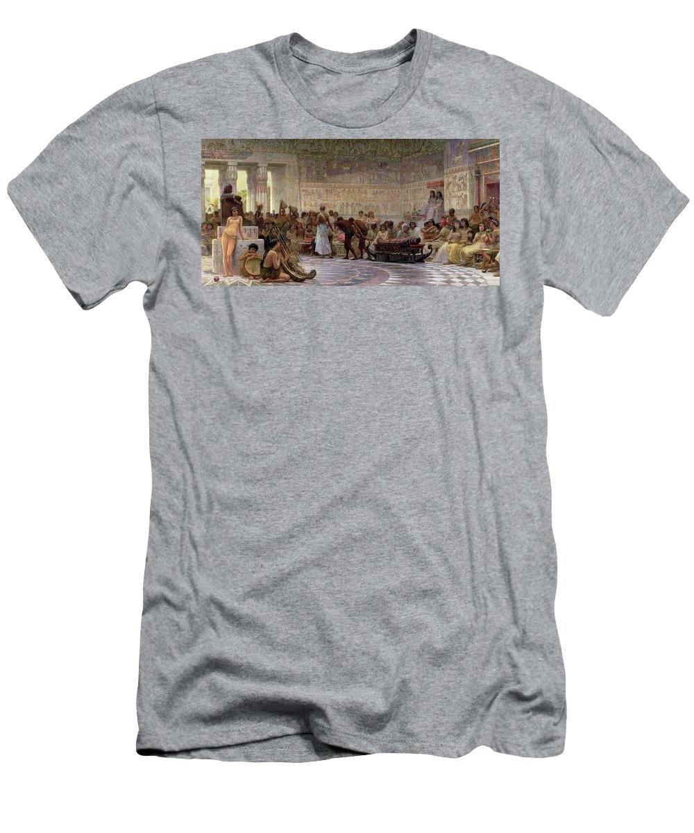 Egyptian Men's T-Shirt (Athletic Fit) featuring the painting An Egyptian Feast by Edwin Longsden Long
