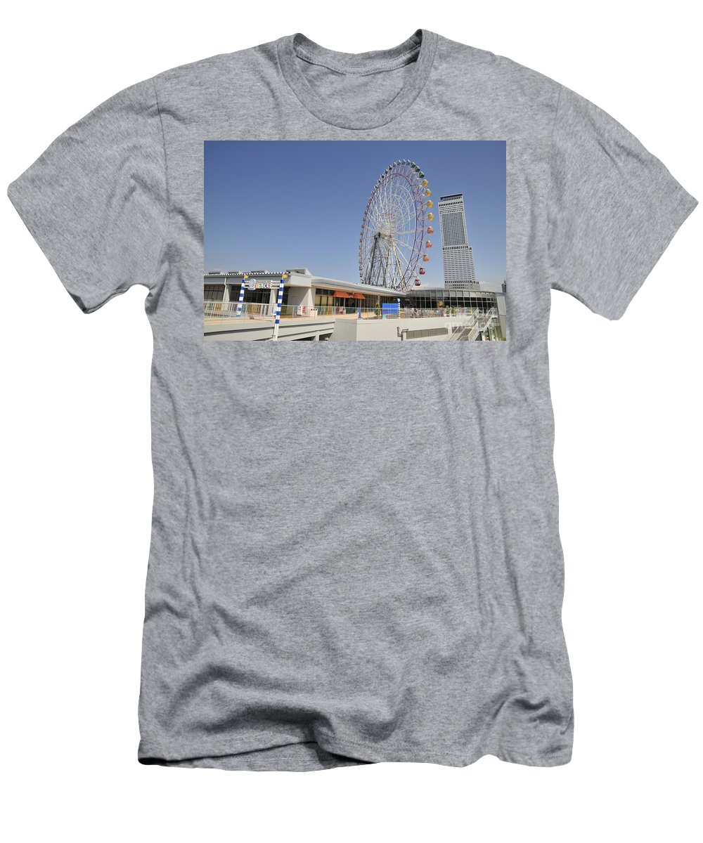 Seacle Rinku Pleasure Town Men's T-Shirt (Athletic Fit) featuring the photograph Ana Tower Gate Hotel by Andy Smy