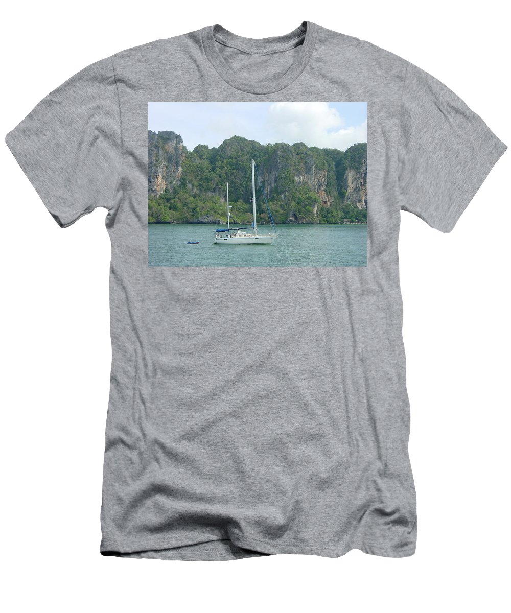 Sail Boat Men's T-Shirt (Athletic Fit) featuring the photograph Anchored In Paradise by D Turner