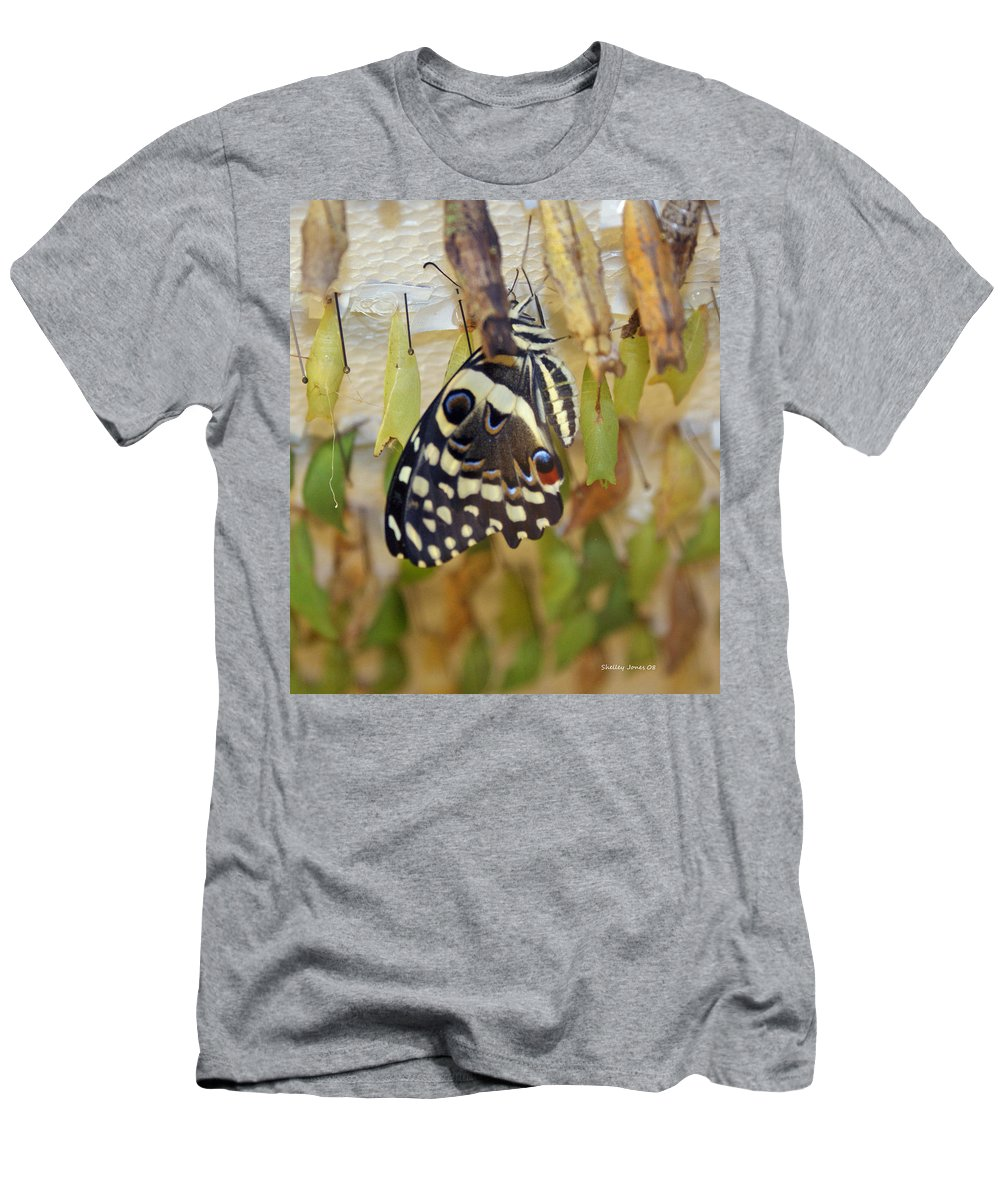 Butterfly Men's T-Shirt (Athletic Fit) featuring the photograph And Life Begins by Shelley Jones