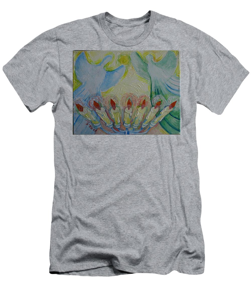 Drawing Men's T-Shirt (Athletic Fit) featuring the painting Angels by Gideon Cohn