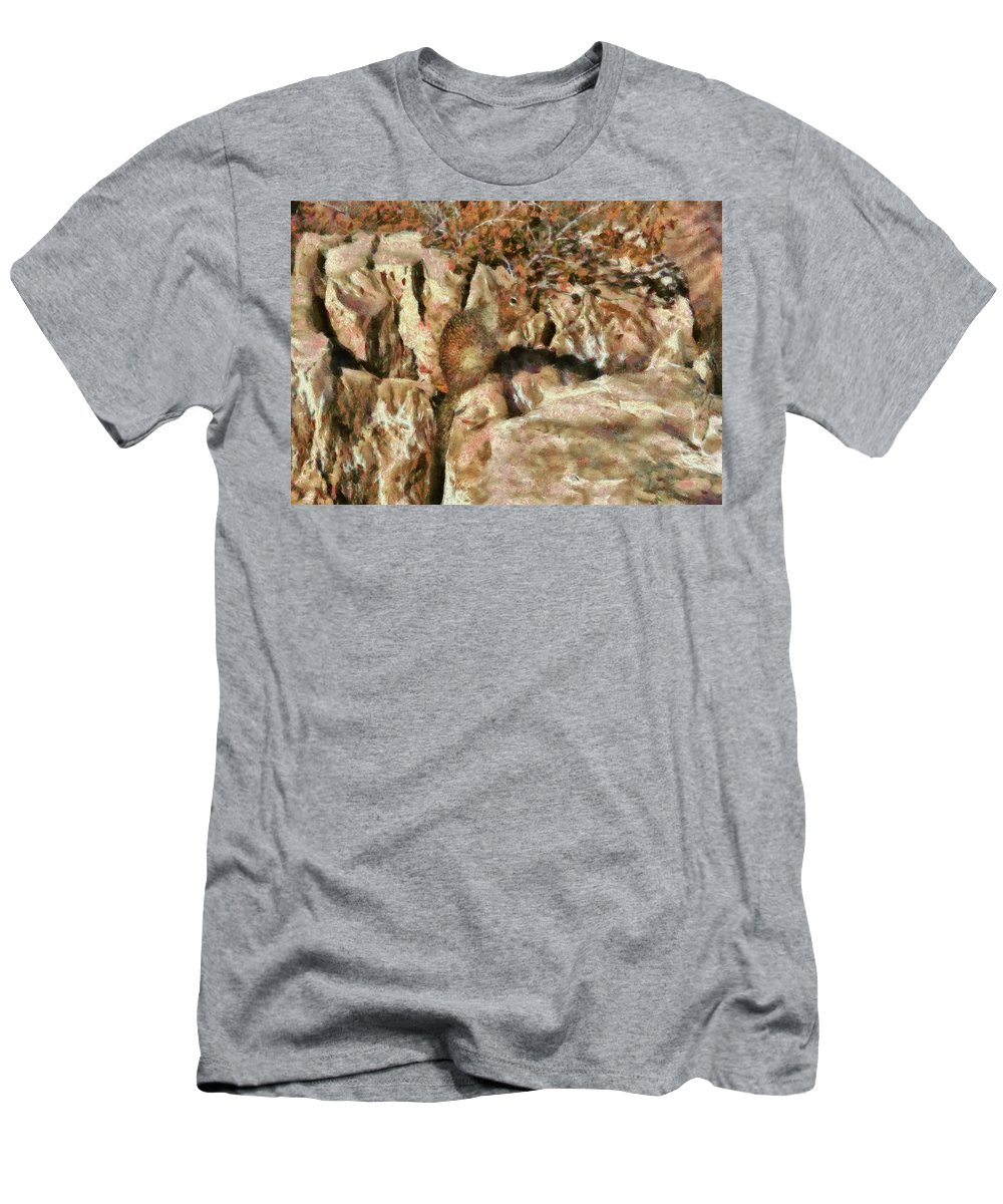 Savad Men's T-Shirt (Athletic Fit) featuring the photograph Animal - Squirrel - The Squirrel by Mike Savad