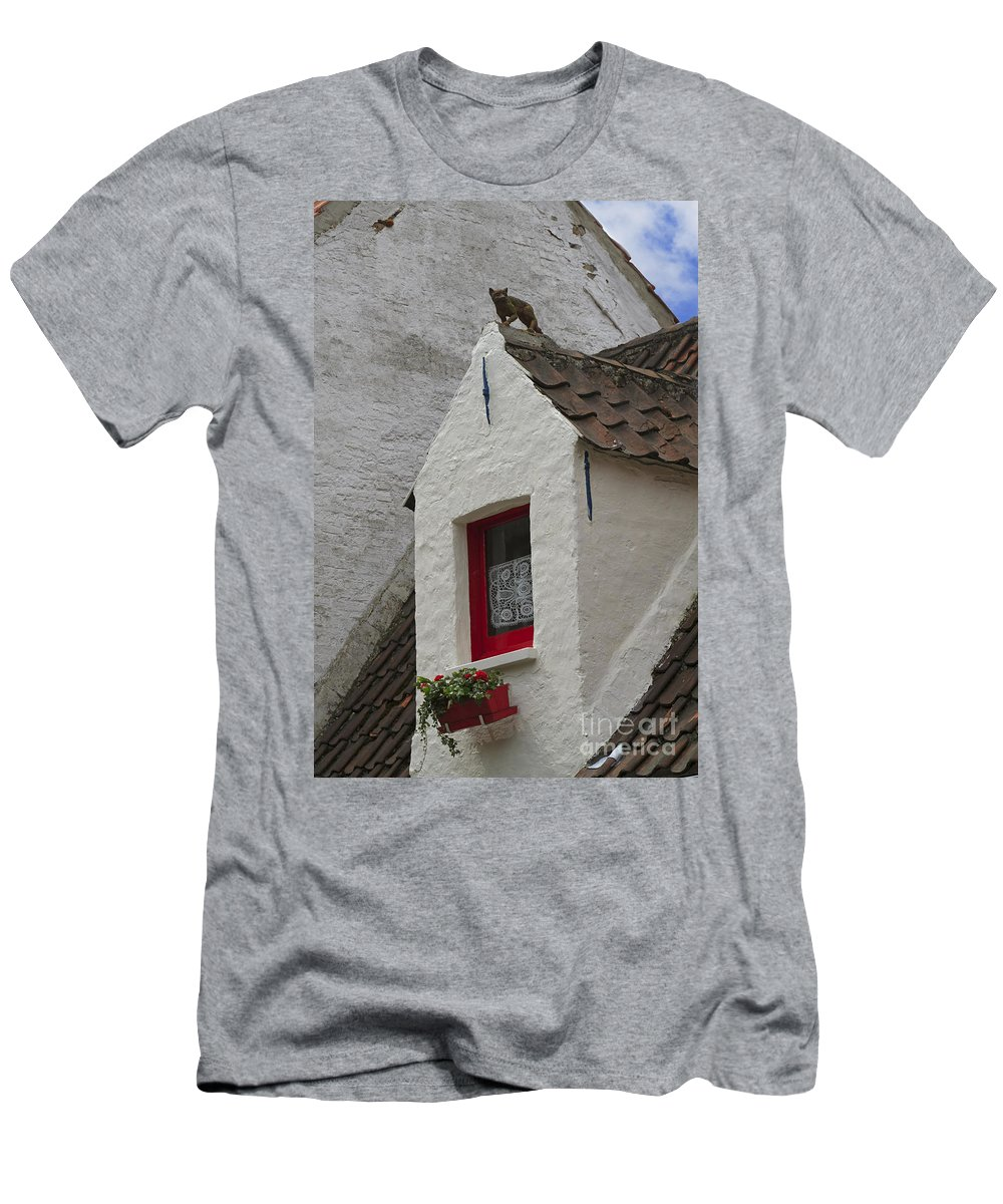 Animal Men's T-Shirt (Athletic Fit) featuring the photograph Animal Statue On The Dormer Roof Of A House In Bruges Belgium by Louise Heusinkveld