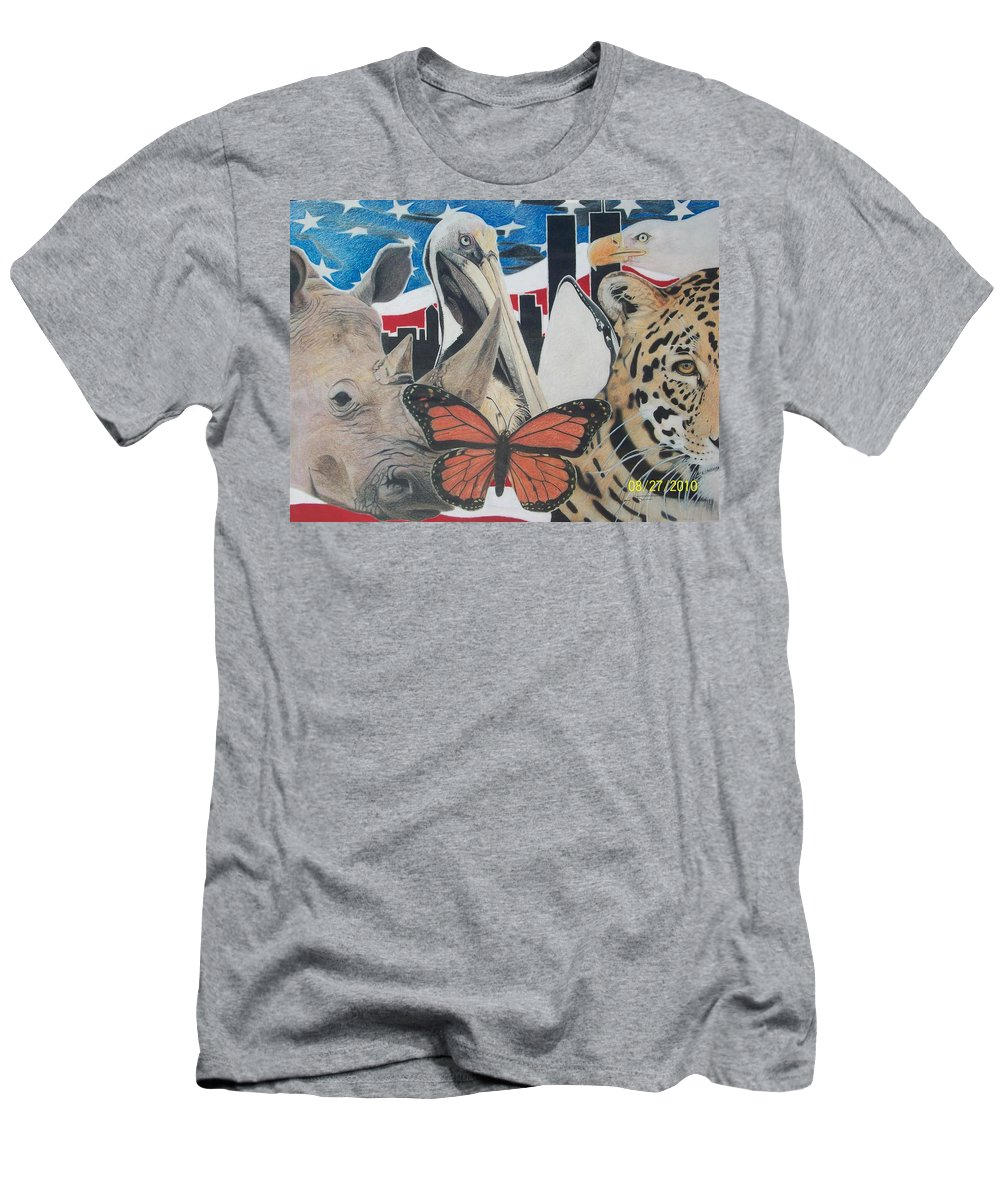 Twin Towers Men's T-Shirt (Athletic Fit) featuring the mixed media Animals Of Freedom by Jamie Preston