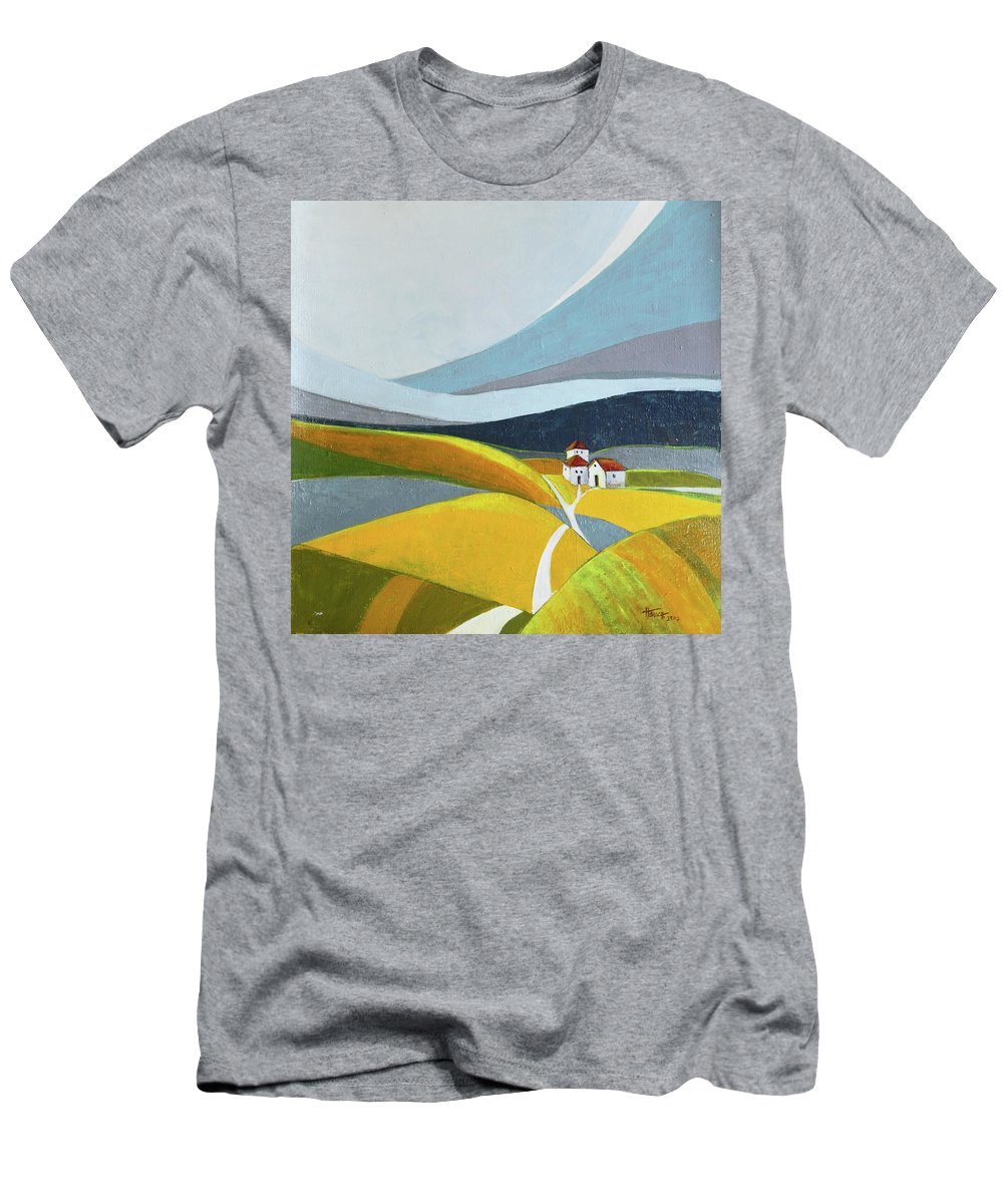 Landscape Men's T-Shirt (Athletic Fit) featuring the painting Another Day On The Farm by Aniko Hencz