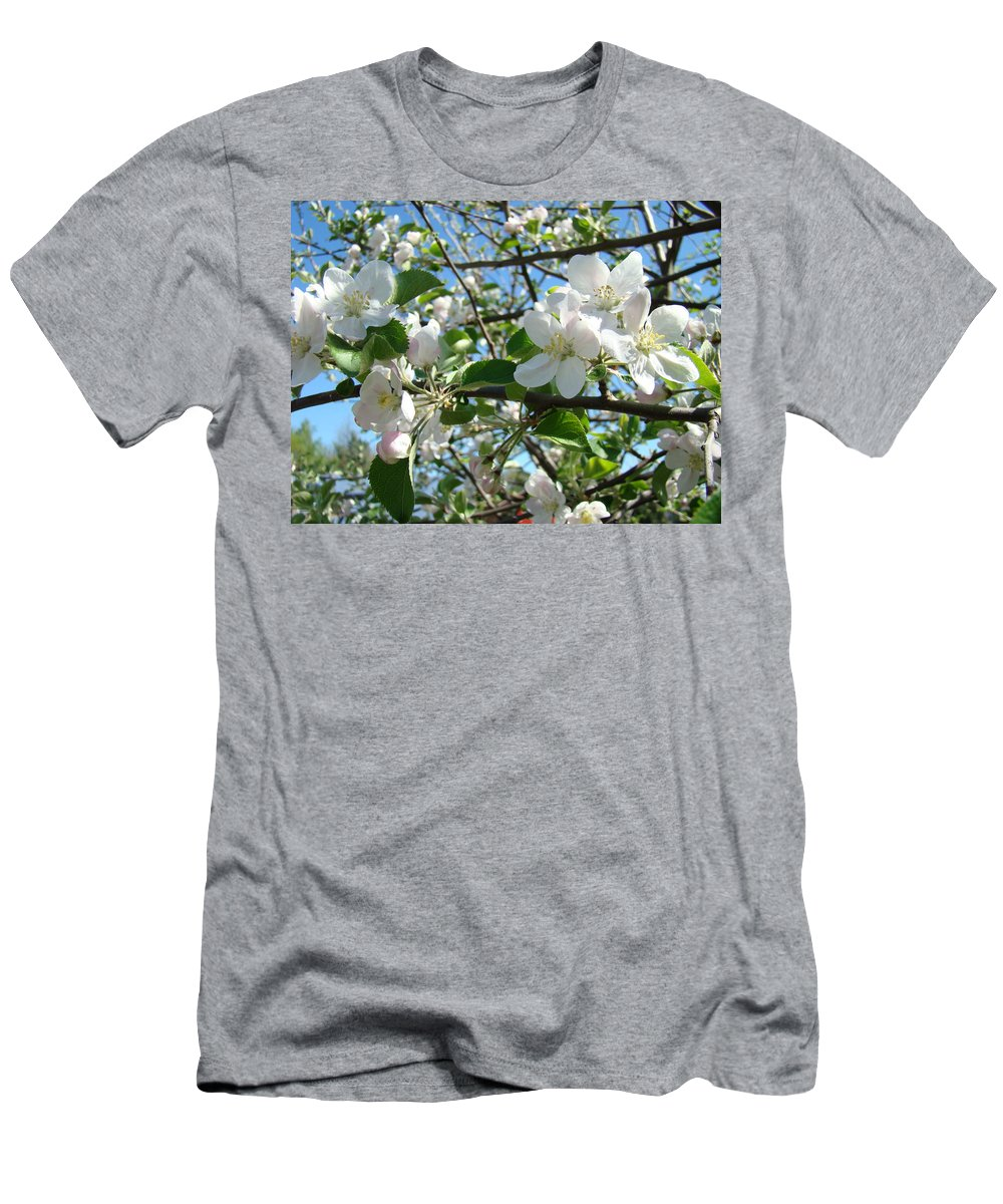 �blossoms Artwork� Men's T-Shirt (Athletic Fit) featuring the photograph Apple Blossoms Art Prints 60 Spring Apple Tree Blossoms Blue Sky Landscape by Baslee Troutman