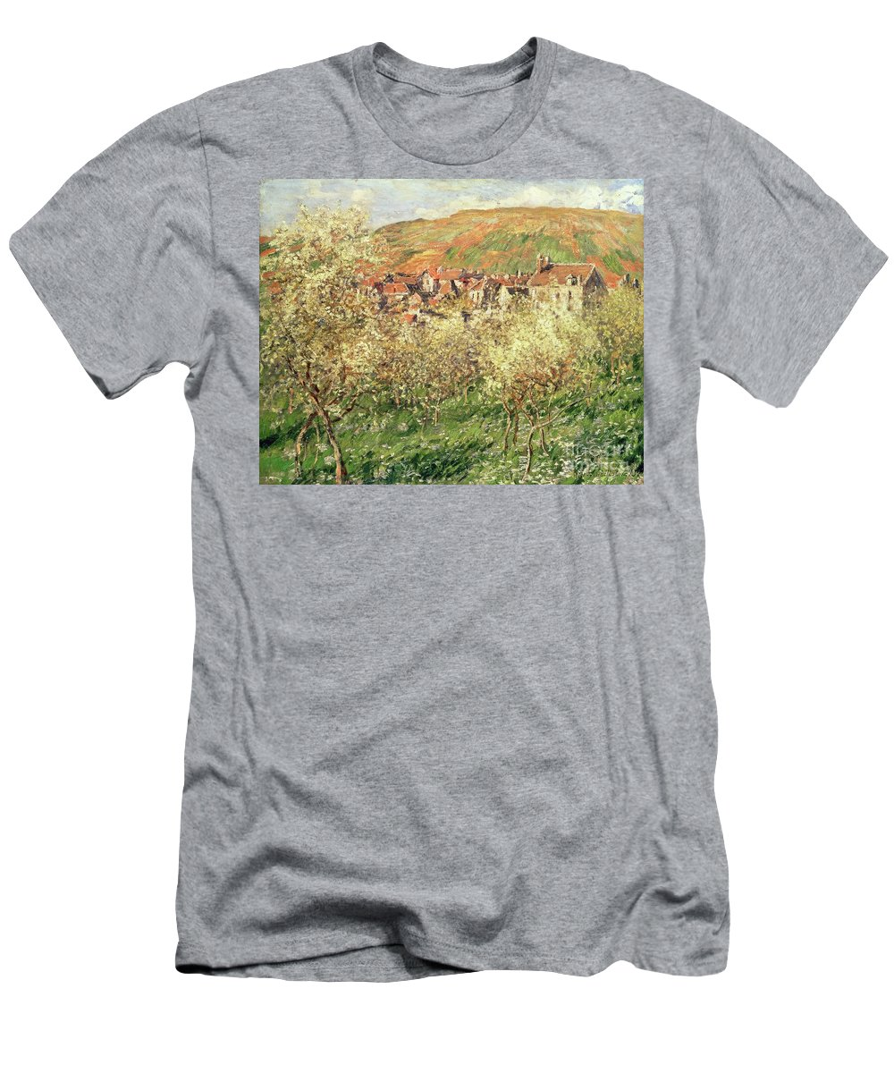 Monet Men's T-Shirt (Athletic Fit) featuring the painting Apple Trees In Blossom by Claude Monet