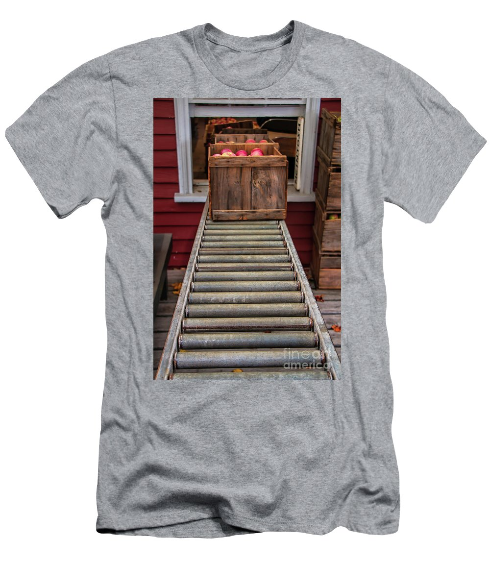 Apple Unloading Time Men's T-Shirt (Athletic Fit) featuring the photograph Apple Unloading Time by Elizabeth Dow