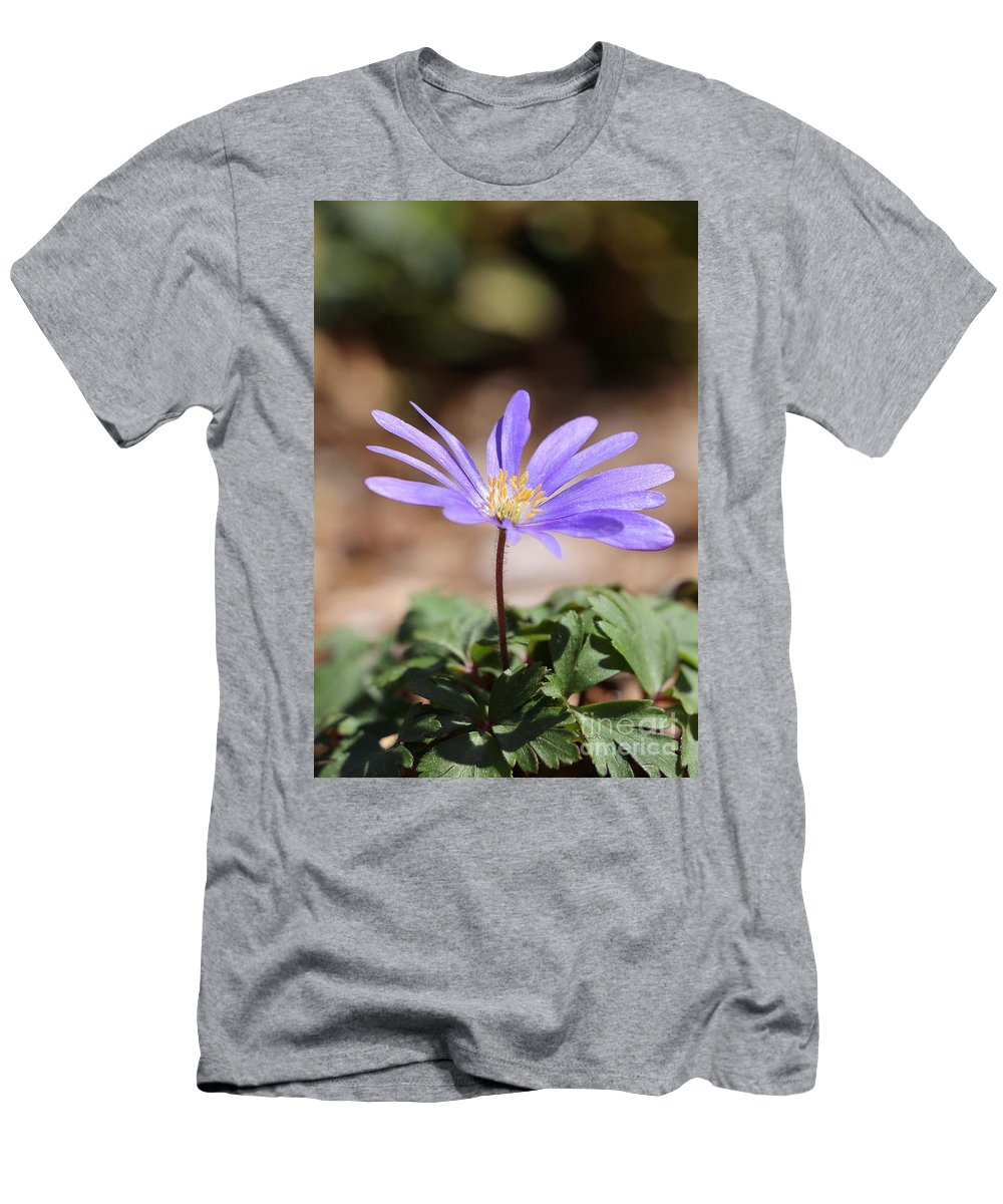 Grecian Windflower Men's T-Shirt (Athletic Fit) featuring the photograph April Grecian Wind Flower by Neal Eslinger