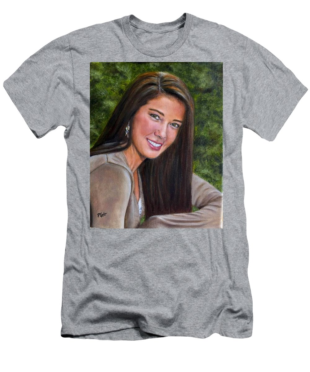 Beautiful Woman Portrait Men's T-Shirt (Athletic Fit) featuring the painting April's Love by Dr Pat Gehr