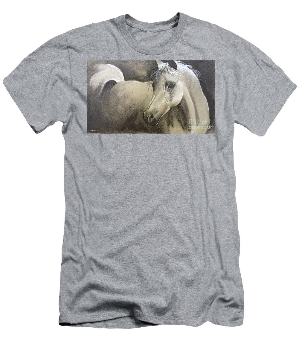 Arabian Men's T-Shirt (Athletic Fit) featuring the drawing Arabian by Ashley Jennings