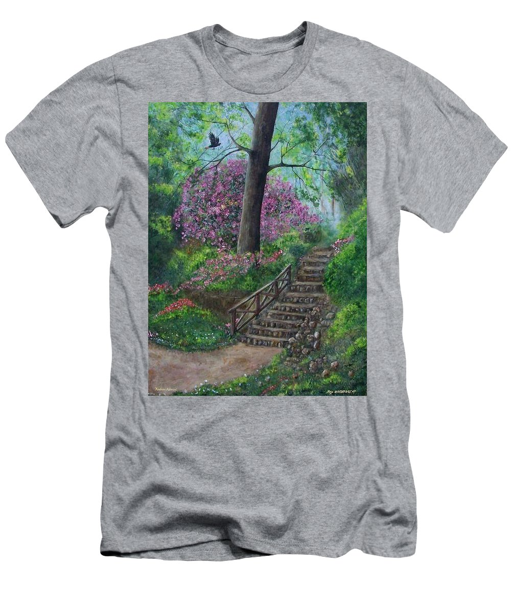 #unique Men's T-Shirt (Athletic Fit) featuring the painting Araluen Abloom by Rex Woodmore