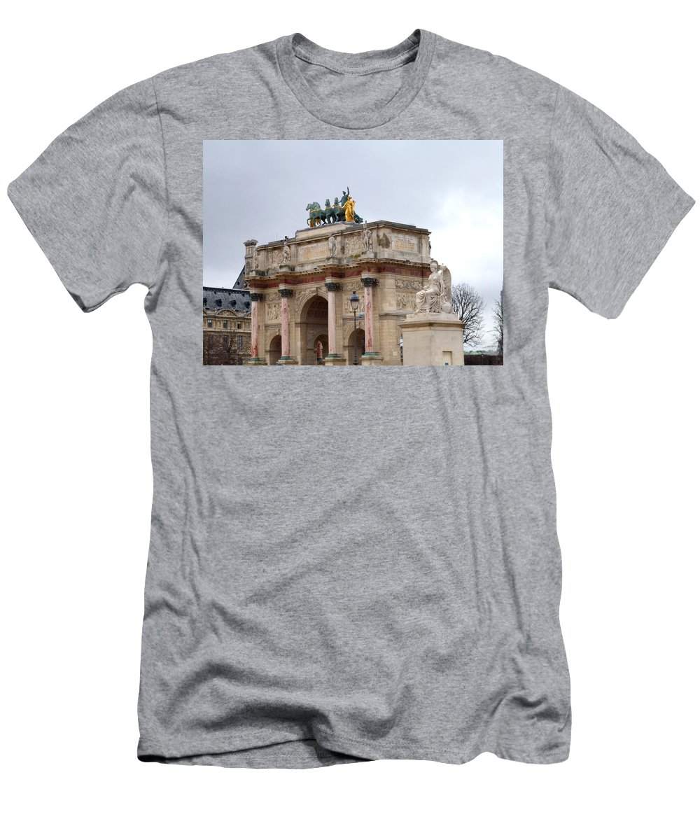 Arc Men's T-Shirt (Athletic Fit) featuring the photograph Arc De Triomphe Du Carrousel In Winter by Laura Greco