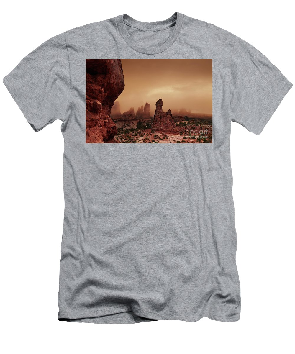 America Men's T-Shirt (Athletic Fit) featuring the photograph Arches National Park by Dmitry Pichugin