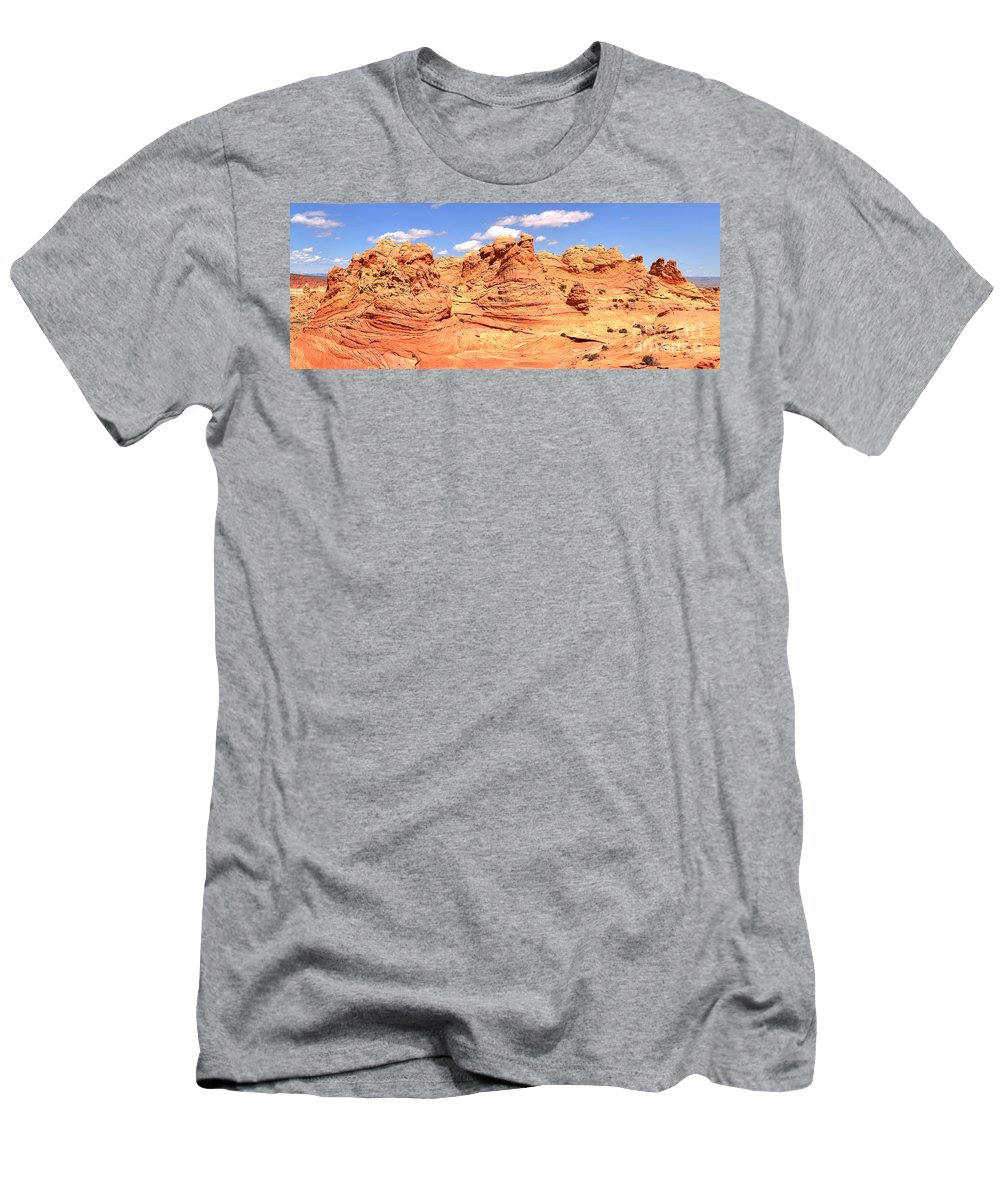Vermilion Cliffs Panorama Men's T-Shirt (Athletic Fit) featuring the photograph Arizona Desert Dreamscape by Adam Jewell