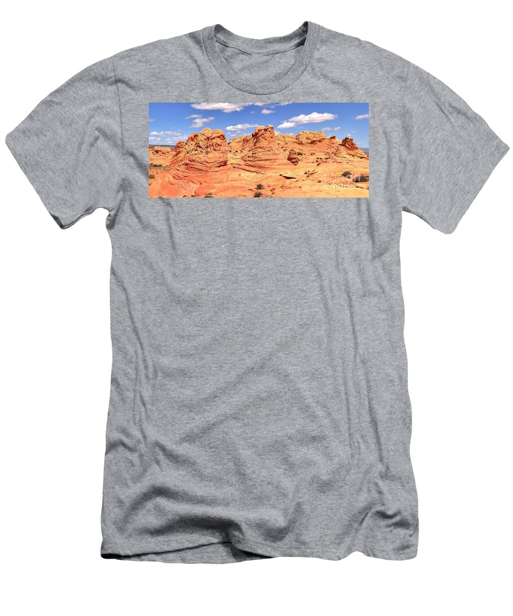 Vermilion Cliffs Panorama Men's T-Shirt (Athletic Fit) featuring the photograph Arizona Dreamscape by Adam Jewell