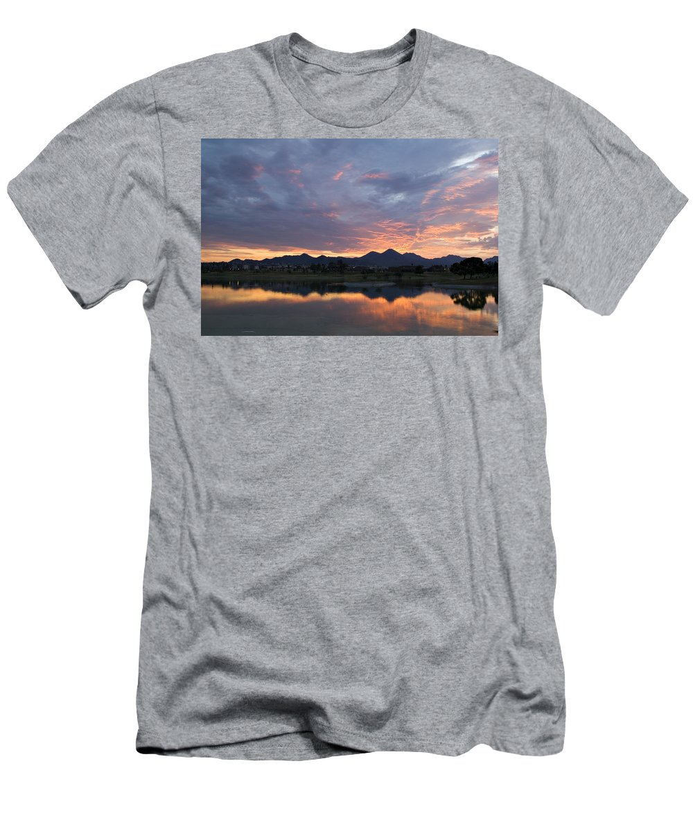 Arizona Men's T-Shirt (Athletic Fit) featuring the photograph Arizona Sunset by Renee Hong