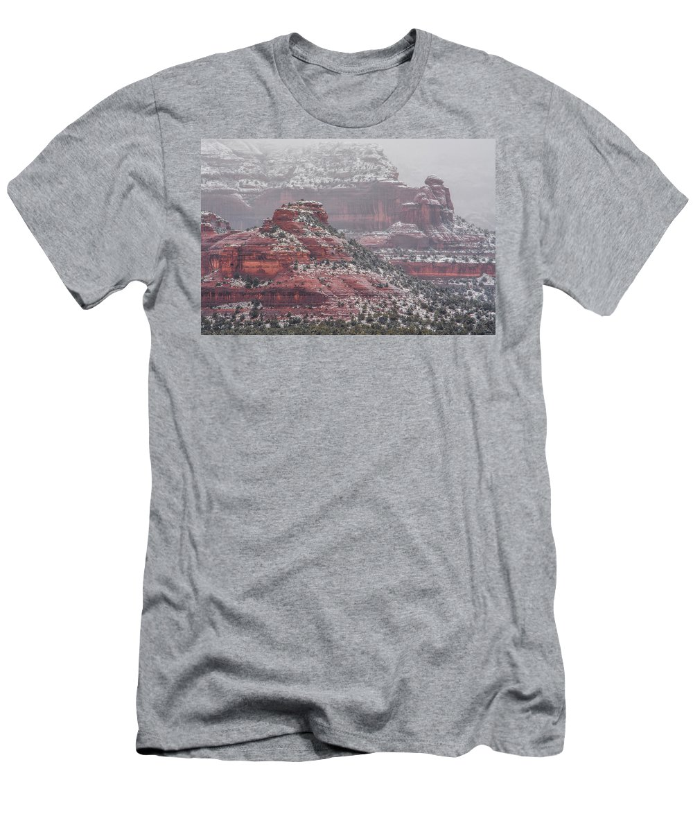 Sedona Men's T-Shirt (Athletic Fit) featuring the photograph Arizona Winter by Racheal Christian