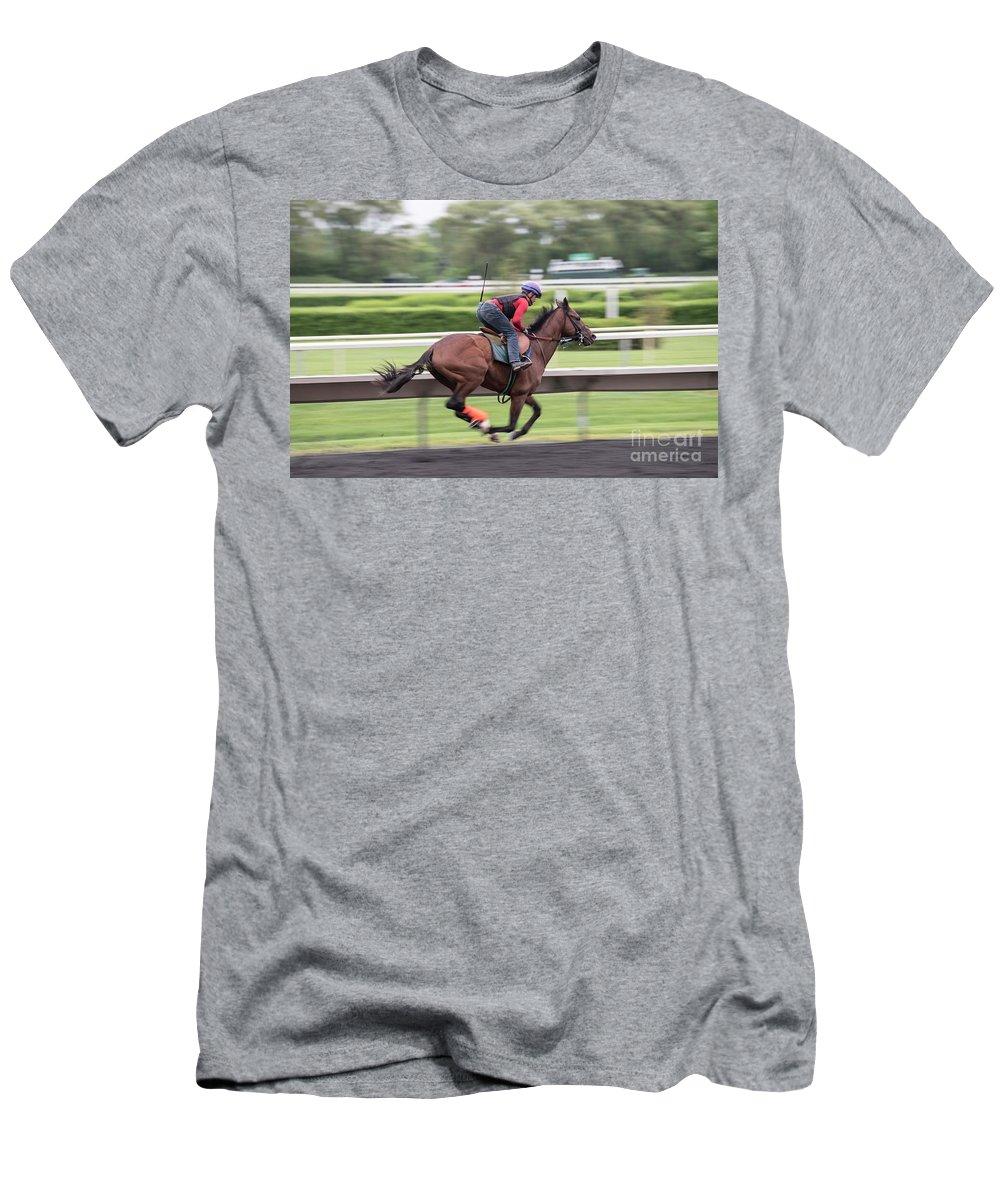 Arlington Park Men's T-Shirt (Athletic Fit) featuring the photograph Arlington Park Racing - 5 by David Bearden