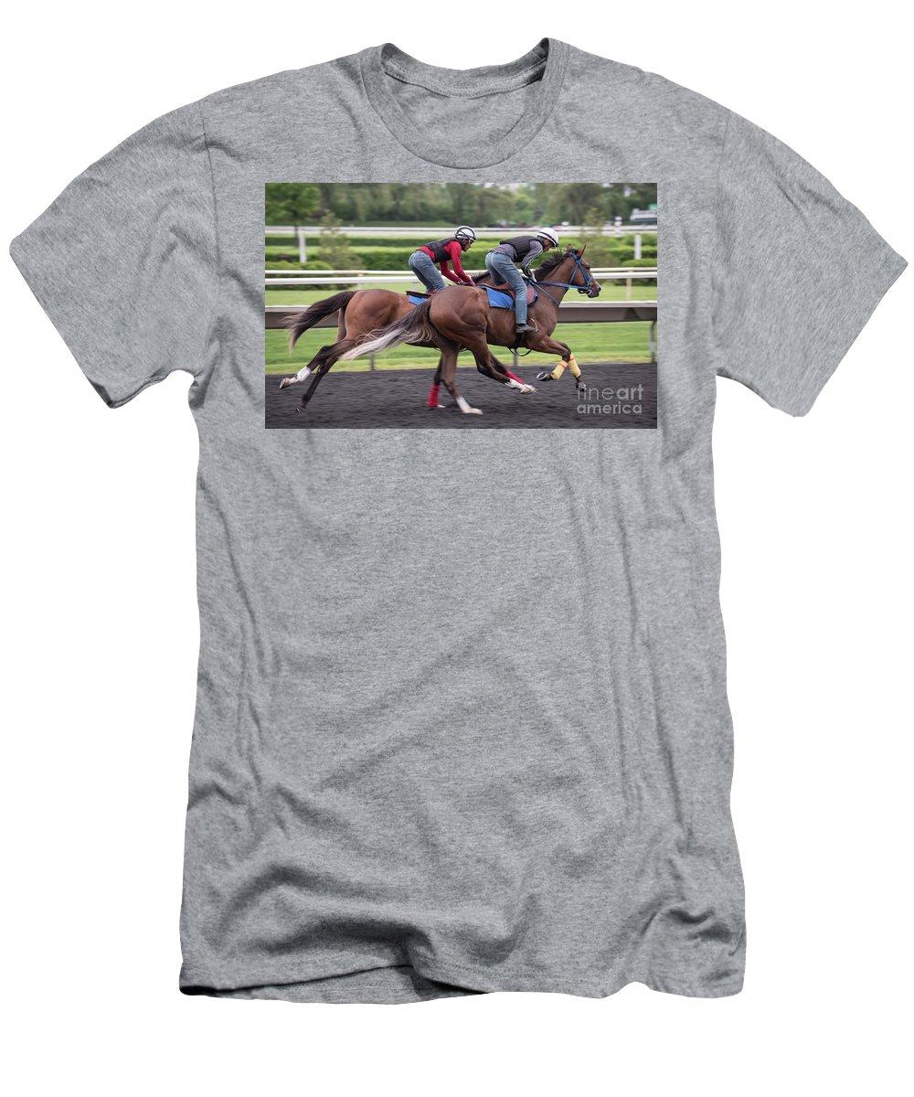 Arlington Park Men's T-Shirt (Athletic Fit) featuring the photograph Arlington Park Racing - 7 by David Bearden