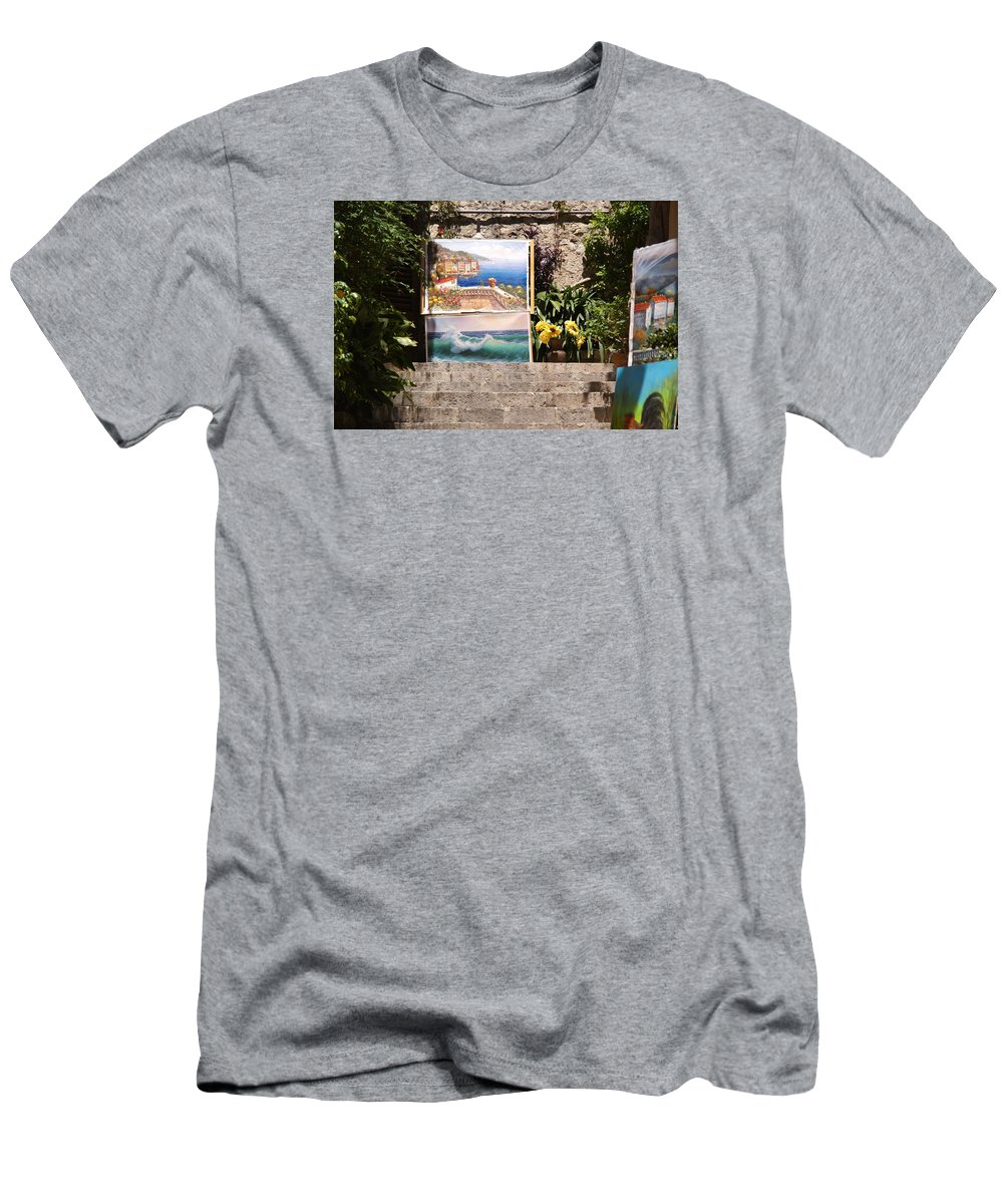 Art Men's T-Shirt (Athletic Fit) featuring the photograph Art At Top Of Stairs by Ron Koivisto