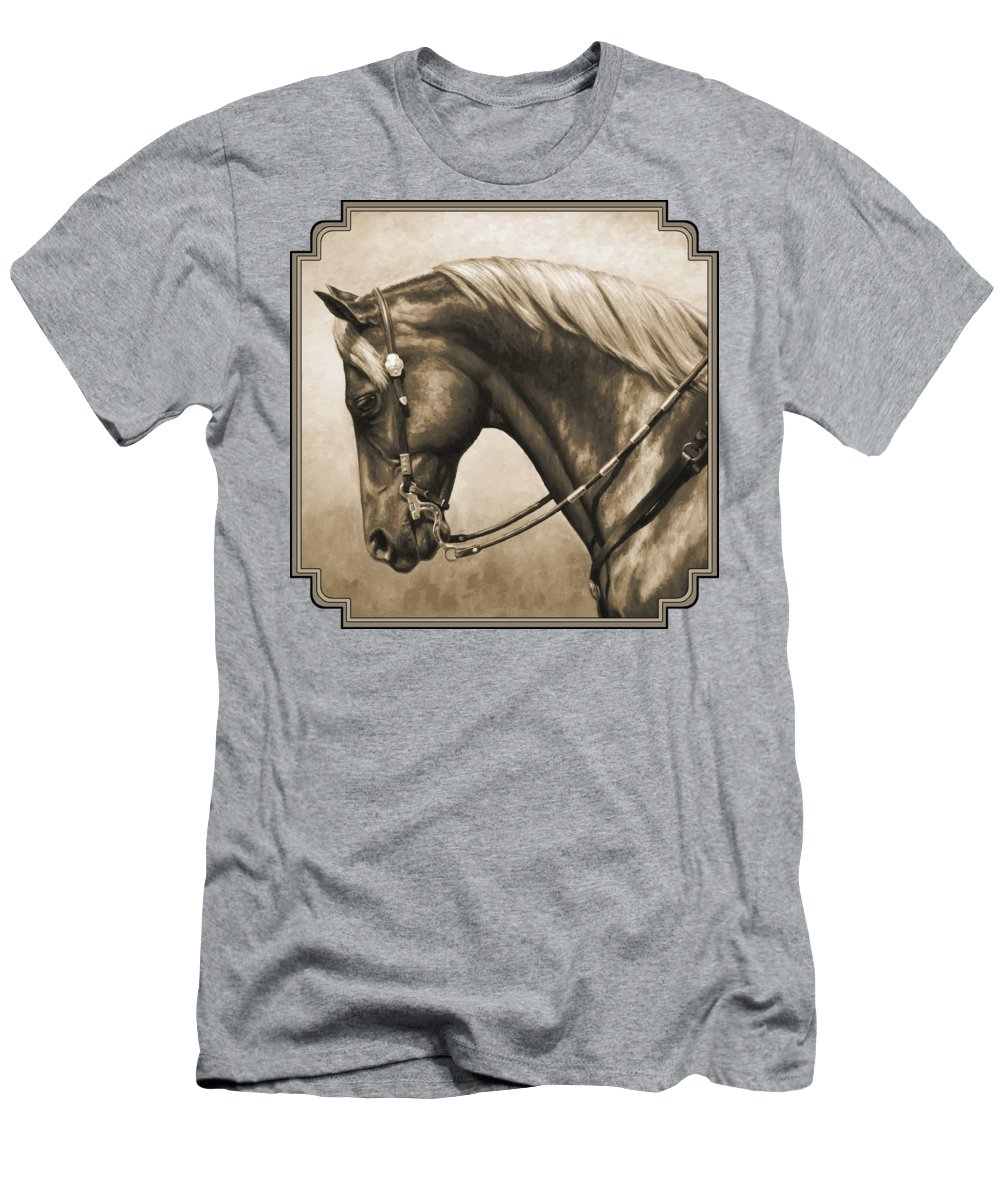 Horse Men's T-Shirt (Athletic Fit) featuring the painting Western Horse Painting In Sepia by Crista Forest