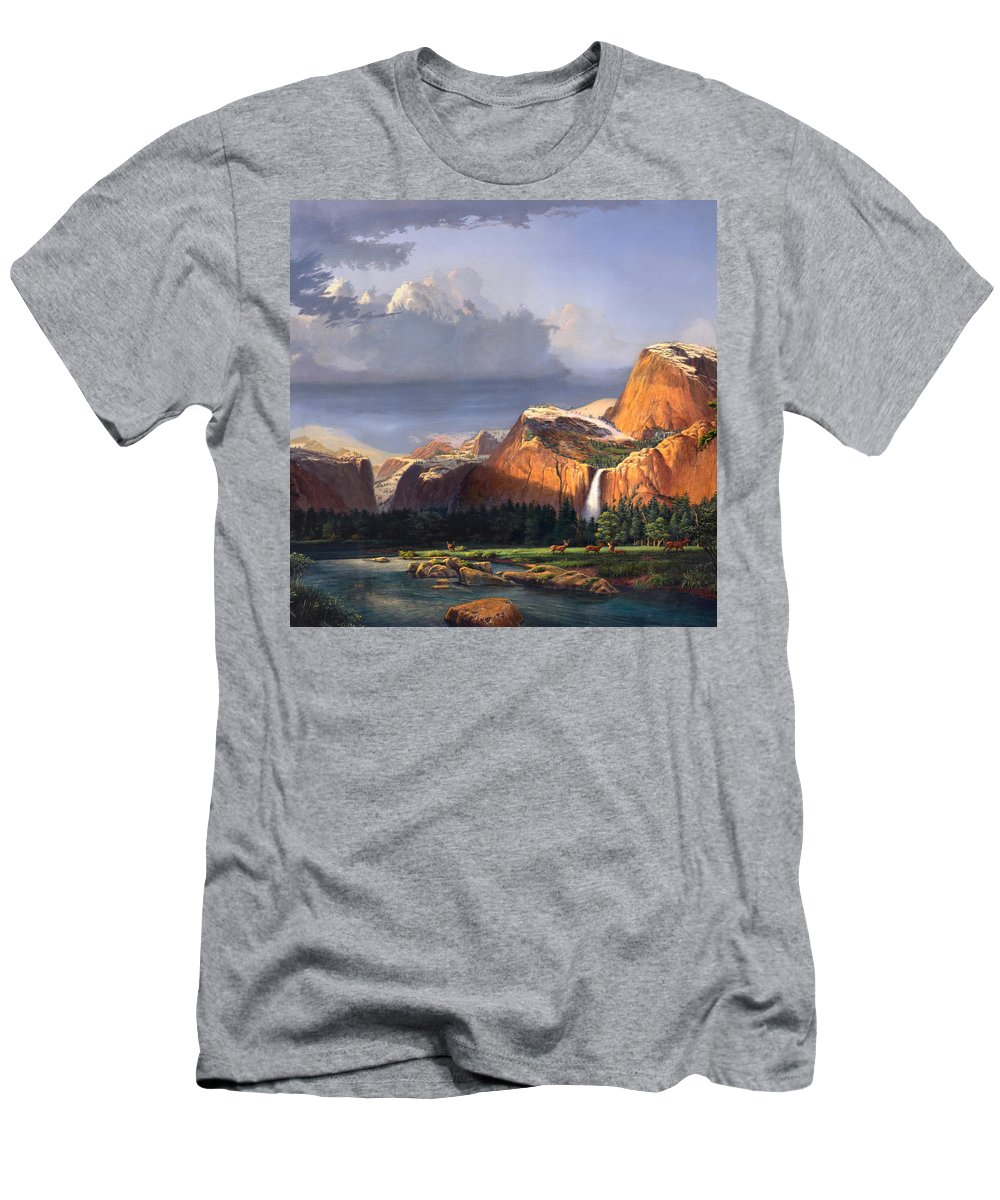 American T-Shirt featuring the painting Deer Meadow Mountains Western stream Deer waterfall Landscape Oil Painting stormy sky snow scene by Walt Curlee