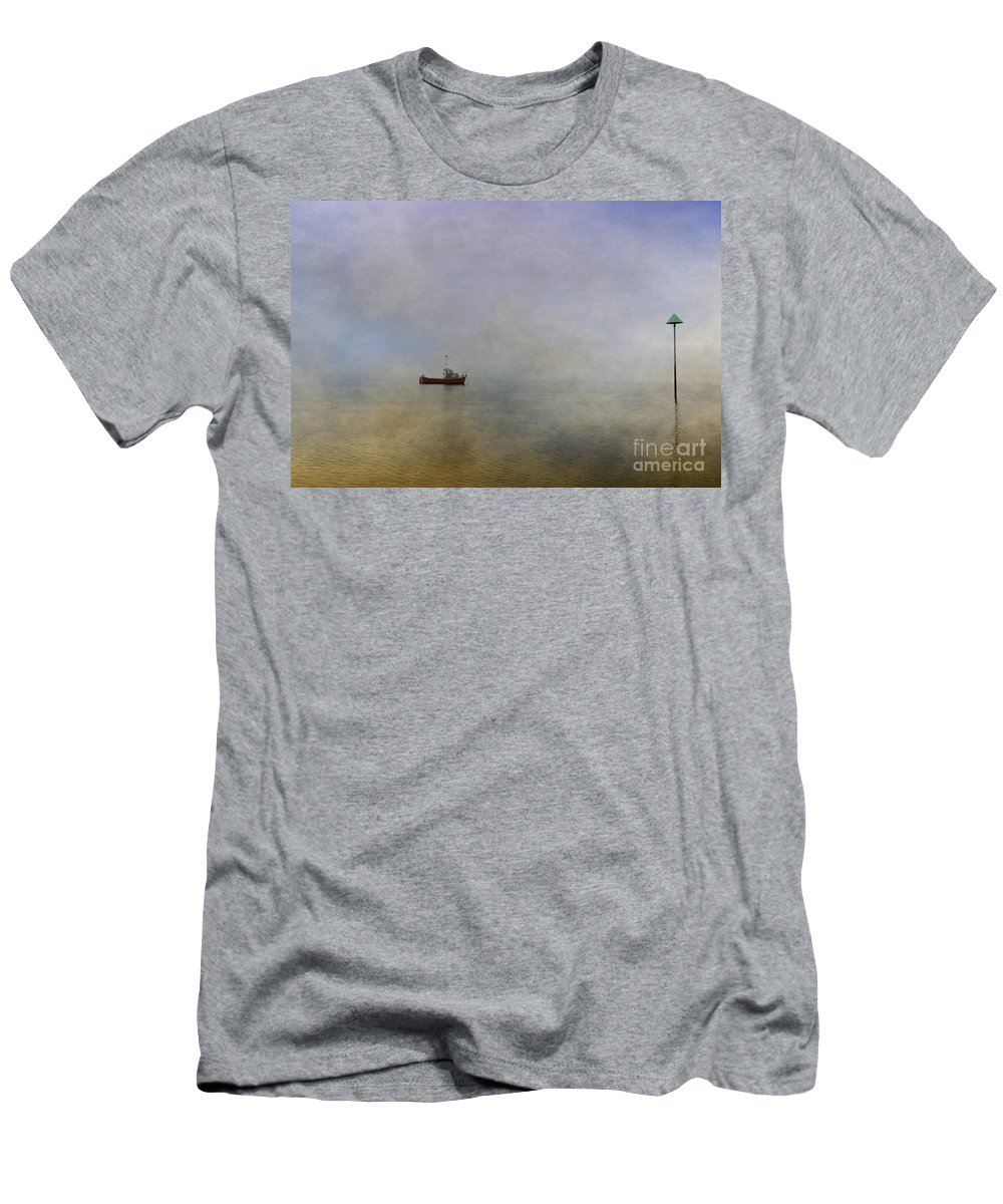 Boat Men's T-Shirt (Athletic Fit) featuring the digital art At Anchor by Nigel Bangert