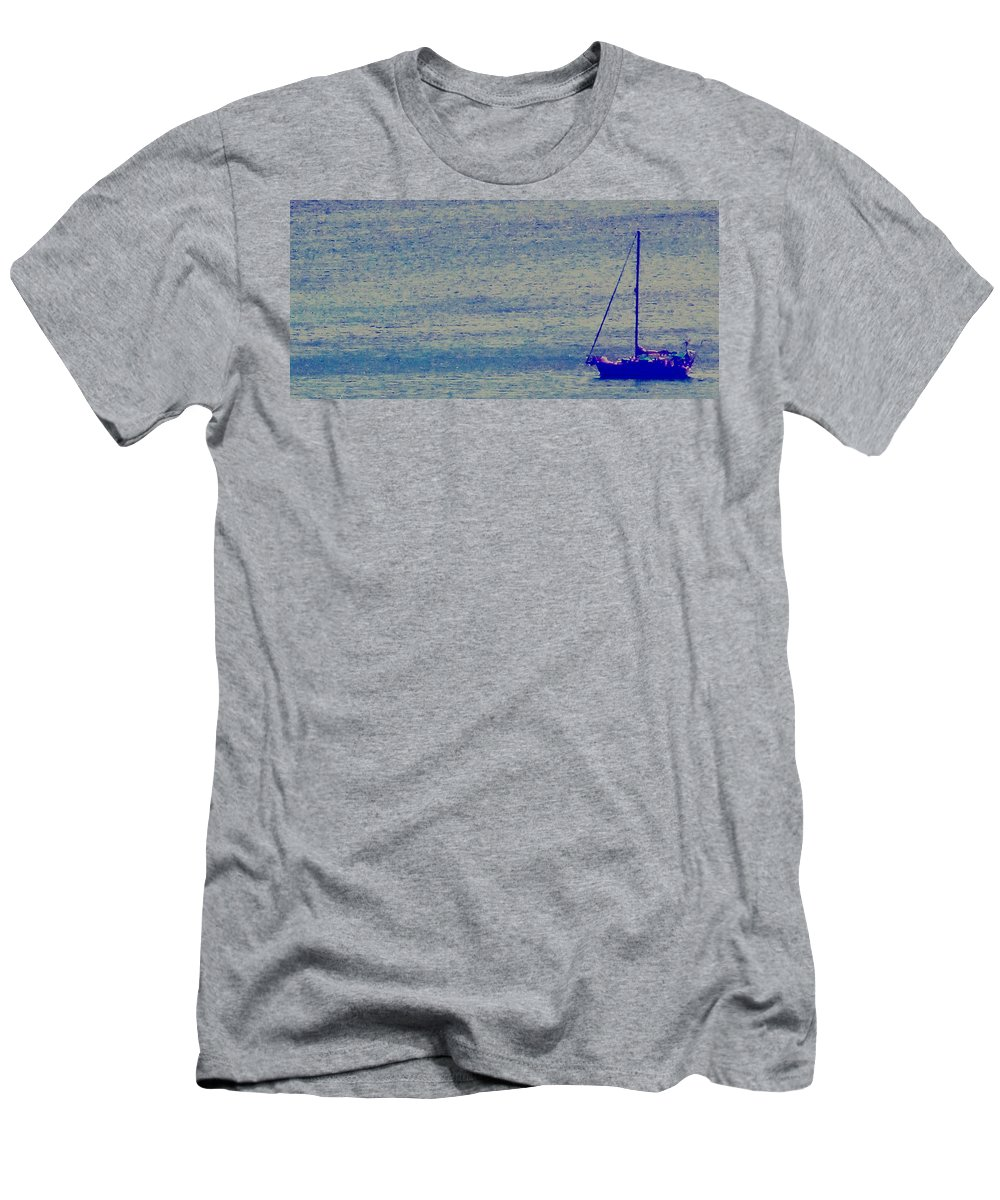 Boat Men's T-Shirt (Athletic Fit) featuring the photograph At Evening Anchor by Ian MacDonald