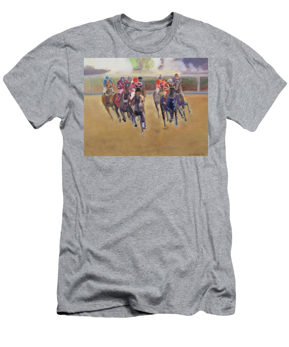 Horses Men's T-Shirt (Athletic Fit) featuring the painting At The Races by Gail Eisenfeld