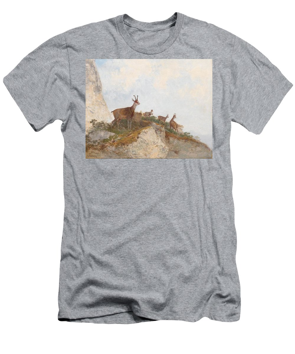 Georg Fischhof - (vienna 1859-1920) At The Vanguard Men's T-Shirt (Athletic Fit) featuring the painting At The Vanguard by MotionAge Designs