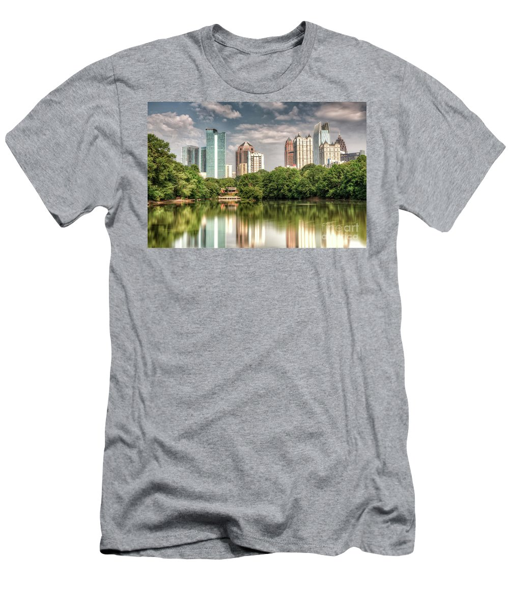 Landscape Men's T-Shirt (Athletic Fit) featuring the photograph Atlanta As Viewed From Piedmont Park by Glen Dykstra