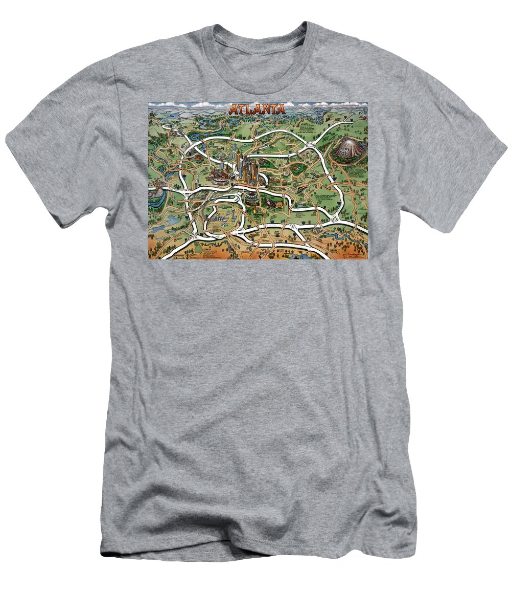 Atlanta Men's T-Shirt (Athletic Fit) featuring the painting Atlanta Cartoon Map by Kevin Middleton
