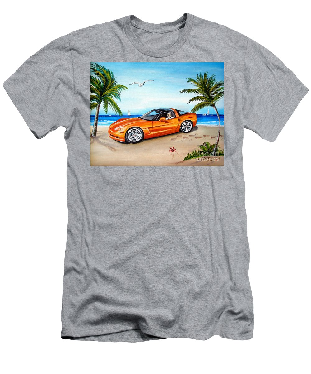 Oil Men's T-Shirt (Athletic Fit) featuring the painting Atomic Orange by Elizabeth Robinette Tyndall