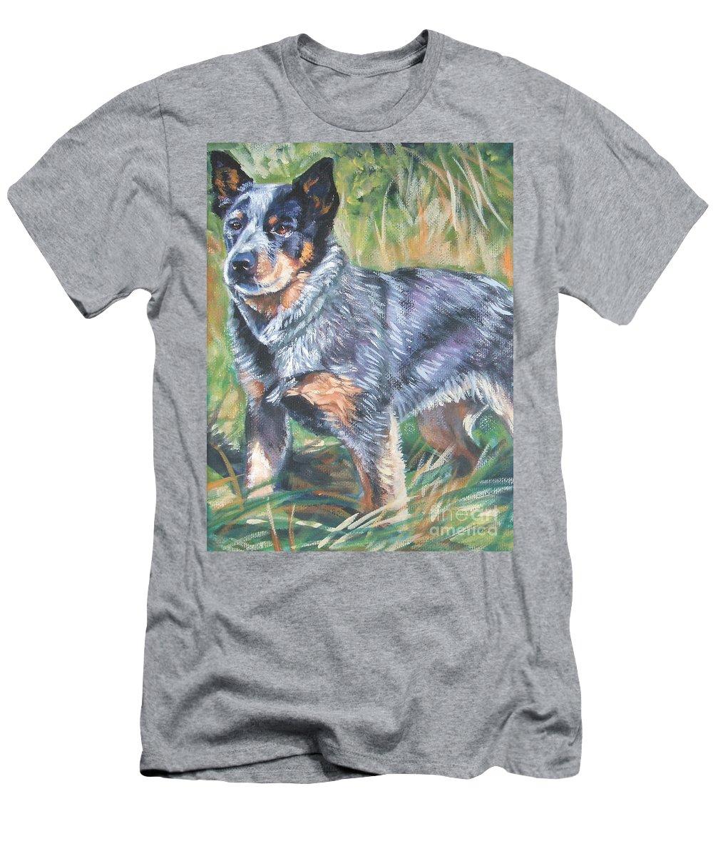 Australian Cattle Dog Men's T-Shirt (Athletic Fit) featuring the painting Australian Cattle Dog 1 by Lee Ann Shepard
