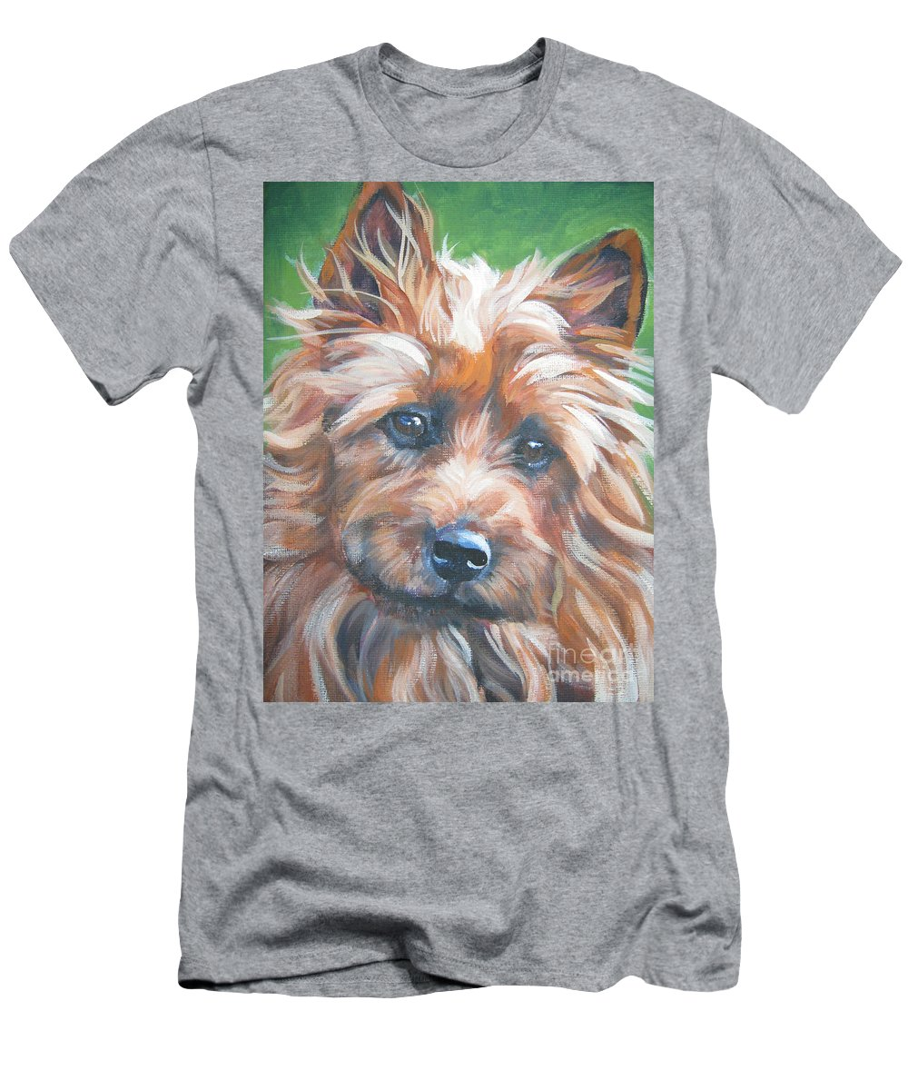 Australian Terrier Men's T-Shirt (Athletic Fit) featuring the painting Australian Terrier by Lee Ann Shepard