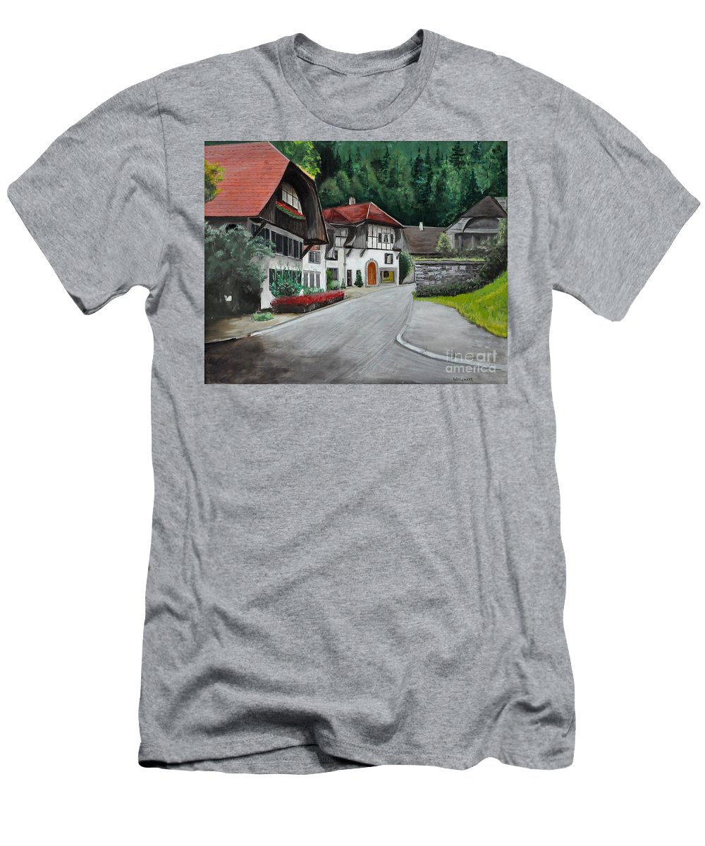 Austria Men's T-Shirt (Athletic Fit) featuring the painting Austrian Village by John Black