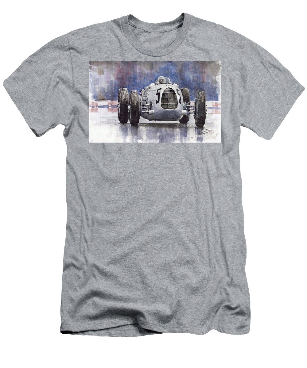 Auto T-Shirt featuring the painting Auto-Union Type C 1936 by Yuriy Shevchuk