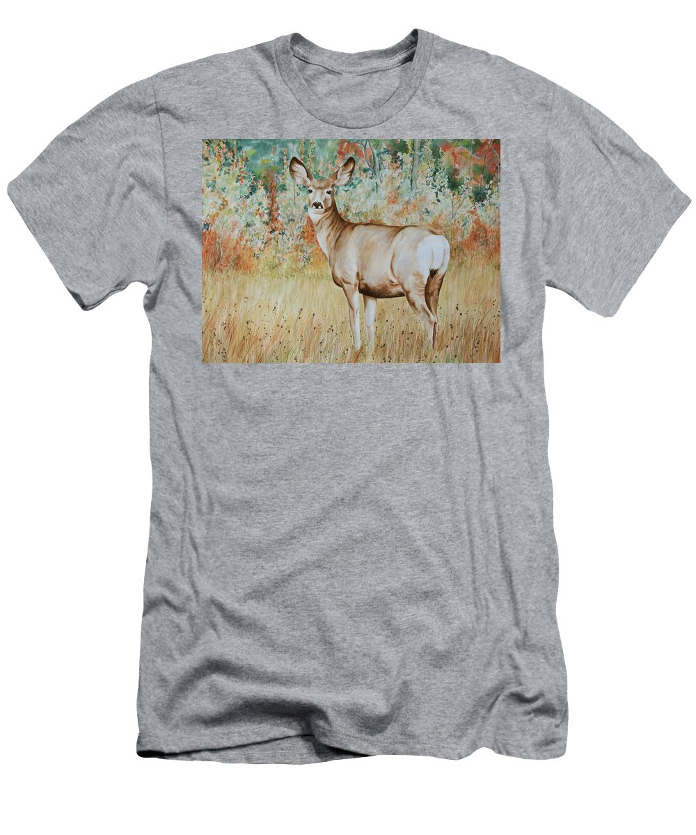 Wildlife Men's T-Shirt (Athletic Fit) featuring the painting Autumn Beauty- Mule Deer Doe by Elaine Booth-Kallweit
