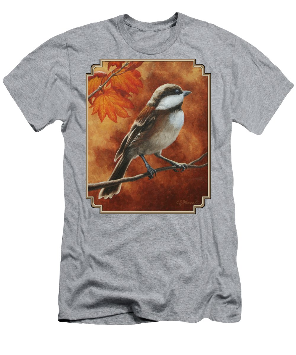 Bird Men's T-Shirt (Athletic Fit) featuring the painting Autumn Chickadee by Crista Forest