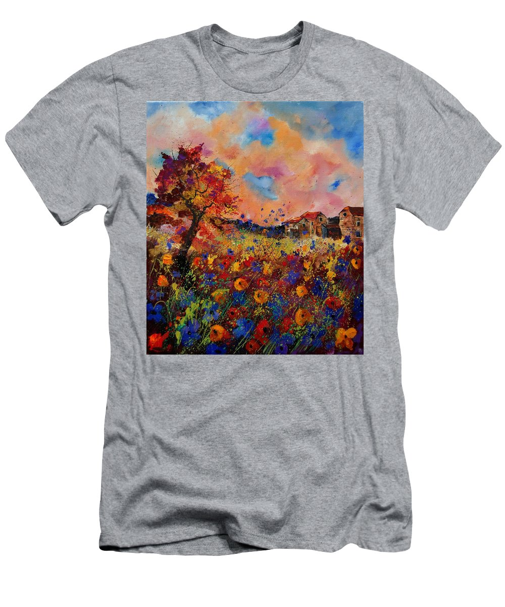 Poppies Men's T-Shirt (Athletic Fit) featuring the painting Autumn Colors by Pol Ledent