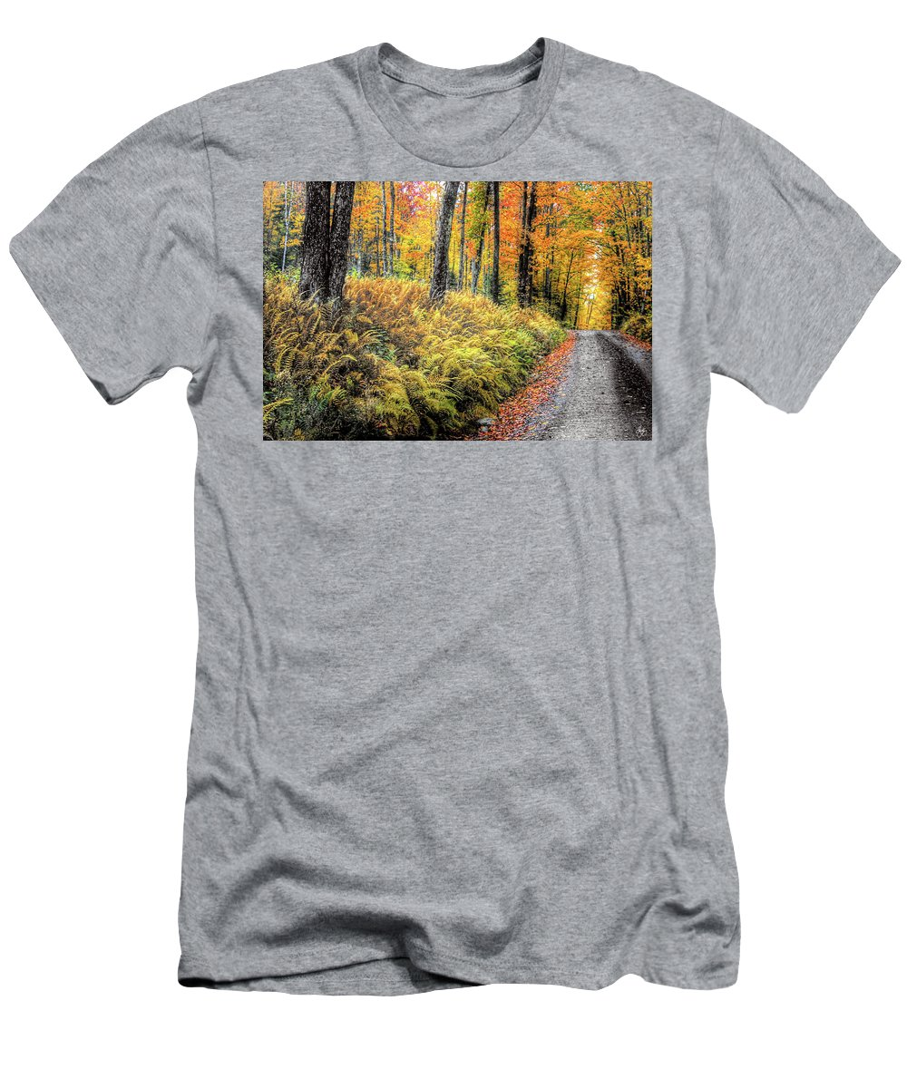 Ferns Men's T-Shirt (Athletic Fit) featuring the photograph Autumn On Long Pond Road by Wayne King