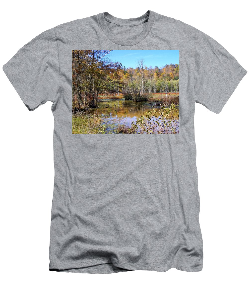 Autumn Men's T-Shirt (Athletic Fit) featuring the photograph Autumn Pond by Charlene Cox